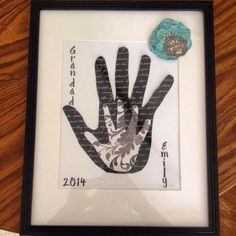 Handprint project for grandfathers birthday from granddaughter