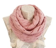 Powder Pink infinity Scarf Women Scarves Knitted by HeraScarf, $32.90
