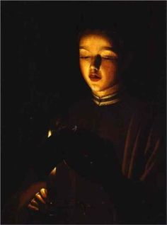 """""""The Young Singer""""  --  Circa 1640-45  --  Georges de la Tour  --  French  --  Oil on canvas  --  No further reference provided."""
