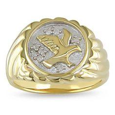 Miadora Men's 1/10ct TDW Diamond Eagle Ring