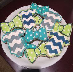 Bow Tie & Onesie Cookies / One Dozen by ShopCookieCouture on Etsy Bow Tie Cookies, Onesie Cookies, Baby Cookies, Baby Shower Cookies, Cute Cookies, Sugar Cookies, 2nd Baby Showers, Baby Shower Parties, Baby Shower Themes