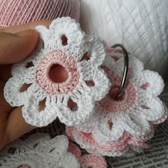 Pink and White Crochet Florets