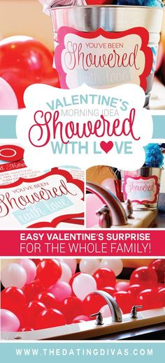 Showered with Love FREE Printable Pack~! Valentine's Day surprise idea from The Dating Divas für Tabellen Showered in Love Valentines Surprise, My Funny Valentine, Valentine Day Love, Valentines Day Party, Valentines Day Decorations, Valentine Day Crafts, Valentine Ideas, Cadeau Surprise, Surprise Gifts