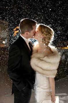 snowy wedding photo