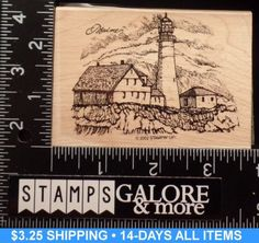 STAMPIN-UP-USED-RUBBER-STAMP-2002-COAST-TO-COAST-LIGHTHOUSE-MAINE-ROCKS