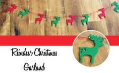 Christmas-Garland-Felt-Reindeer-Stag-Red-and-Green-on-Ribbon-Gift