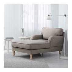 STOCKSUND Chaise longue, Nolhaga grey-beige, light brown/wood - Nolhaga grey-beige - light brown - IKEA