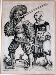 Title: Landsknecht with his Wife              Tags: Katzbalger, Kuhmaul shoes, Hat, Biedenhänder, Landsknecht, Trossfrau, Dog, Ledergoller, Pouch, Gloves              Date: Unknown (1470-1536)                        Artist: Daniel Hopfer              Provenance: Germany              Collection: Unknown