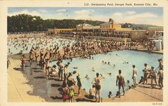 Postcard of Swope Park swimming pool in #KC, circa 1950 (via @Kansas City Public Library). pic.twitter.com/bTXhGeSUou