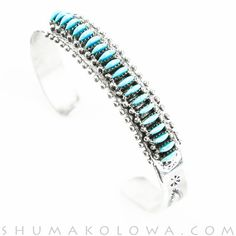Sterling Silver and Turquoise Needle Point Cuff Bracelet