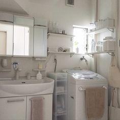 TNKさんの、バス/トイレ,無印良品,洗面所,収納,シンプル,見せる収納,ディアウォール,塩系インテリアの会,のお部屋写真