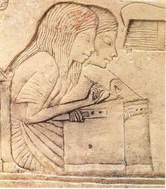 Scribe- Writers - Horemheb tomb, dynasty, Saqqara, Egypt by bertha .Egypt is the first to encourage girls teaching. Ancient Egypt Art, Ancient Artifacts, Ancient History, Art History, Kemet Egypt, Empire Romain, Chef D Oeuvre, Egyptian Art, Egyptian Women