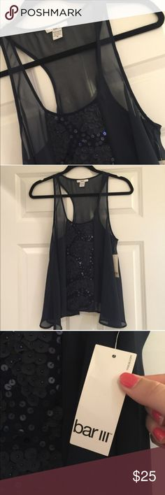 Bar lll Navy Top Super cute NWT navy top. Has a flower like texture running down the middle. Never worn. Smoke free house. Bar III Tops