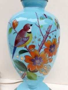Rare French Opaline Hand Painted Lamp by LaDolfina on Etsy