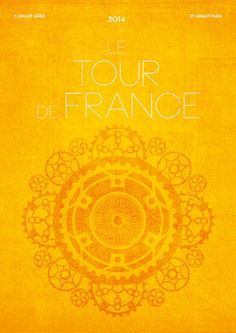 Tour De France 2014 Poster Art Print.  Beautiful, Radiant Poster for this Amazing Endurance (and Skillfully Strategic) Sport