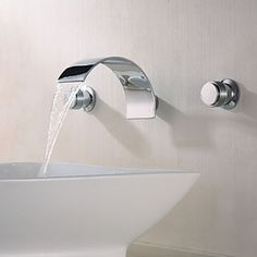 Contemporary Wall Mount Waterfall 3 Pieces Italian Style Wash Basin Bathroom Sink Faucets At FaucetsDeal.com