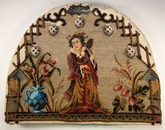 Antique c1856 Unused Victorian Beadwork Tea Cozy (Cosy)  in Original Box, Label