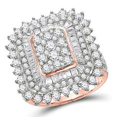 10kt Rose Gold Round Baguette Diamond Cluster Ring for Women 3-1/2 Cttw Tiea Diamond Cluster Ring, Diamond Jewelry, Ring Stores, Diamond Settings, Rings Cool, Rings Online, Baguette Diamond, Gold Material, Precious Metals