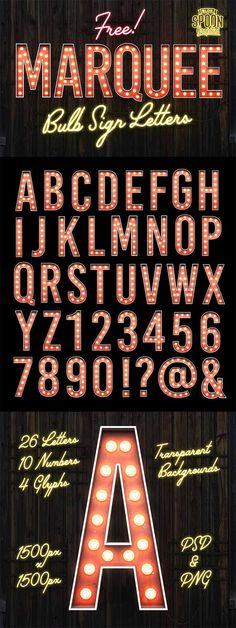 All for graphics and design: Free Marquee Bulb Sign Letters