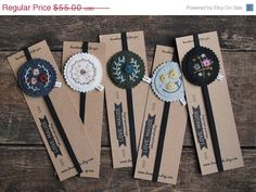 Hand Embroidered Felt bookmarks by lovemaude