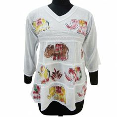 Women Top Long Sleeves Summer Wears Embroidered Dress White Cotton Fabric Size M White Embroidered Dress, Summer Wear, Indian Wear, Beachwear, Christmas Sweaters, Cotton Fabric, Graphic Sweatshirt, Elephant Design, Clothes For Women