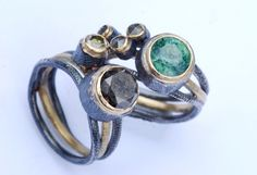 Silver and oxidised rings with semi-precious stones by Adele Taylor