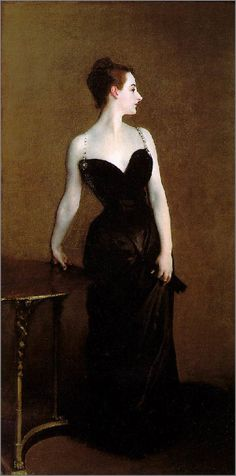 Sargent's brushwork is superb, and his lines are so satisfying to the eye.  The stark contrast of her pale skin against the deep black is so wonderfully striking, and I love the way the neutral background brings the brutal contrast in tones together. So gorgeous. Madame X!
