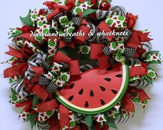Watermelon Wreath, Spring Wreath, Summer Wreath, Everyday Wreath, Wreath for Front Door, Front Door Wreath, Deco Mesh Wreath