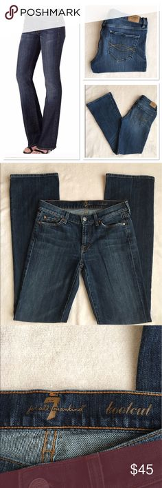 7 for all mankind bootcut jeans Excellent condition! Waist: 15 in. Inseam: 33 in. Front rise: 8 in. All measurements taken laying flat and are approximate. Size 28. 98% cotton, 2% spandex. More of a low rise. 7 For All Mankind Jeans Boot Cut