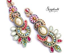 Soutache earrings. Soutache jewelry. Statement earrings. Colorful earrings. Large earrings. Boho earrings. Couture earrings. Gift for her.