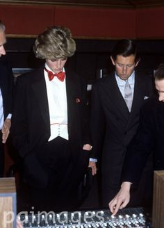 November 19, 1985: Prince Charles and Princess Diana at a Prince's Trust 'Thank You' party, in a London recording studio, for the pop stars who have given their recordings free for a 20 track album.