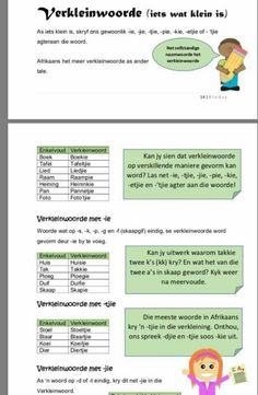 Verkleinwoorde Kids Learning Activities, Fun Learning, Afrikaans Language, 1st Grade Worksheets, School Posters, Teaching Aids, Wedding Humor, Kids Education, Spelling