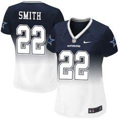 Nike Dallas Cowboys Women s  22 Emmitt Smith Limited Navy White Fadeaway NFL  Jersey Dallas df4bbb3cf