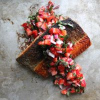 <p>This flavorful salmon recipe takes minutes to prepare. Just sear the fish in a pan till the skin turns crisp, then throw on this fresh fruit salsa, perked up with a dash of red wine vinegar. A quick and easy crowd pleaser.   INGREDIENTS 12 ounces salmon fillet, skin on 2 tablespoons vegetable oil For…</p>