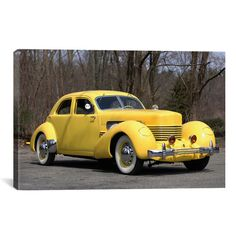 Williston Forge Cars and Motorcycles 1937 Cord 812 Sc Beverly Photographic Print on Canvas Retro Cars, Vintage Cars, Antique Cars, Classic Trucks, Classic Cars, Yellow Car, Color Yellow, Automobile, Auburn