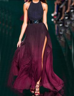 DESCRIPTION Crisp and airy, this sleeveless maxi dress is in burgundy ombre color. It crafted from a halter neck. The self-tie belt and side split will break up