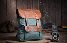 "16"" Lake green Canvas Bag Student laptop Backpacks Leisure Leather and Canvas Backpack School Canvas Bags on Etsy, $59.99"