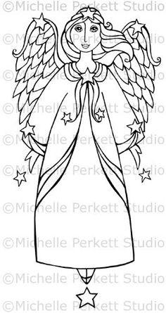 DIGITAL STAMP image angels wings Wish Upon a Star Angel cardmaking scrapbooking