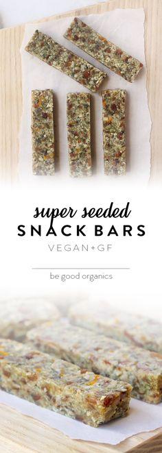 Super Seeded Snack Bars - Be Good Organics. Nut free! With sunflower seeds, pumpkin seeds, dates, coconut, tahini and vanilla.
