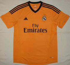 2ca9e7941 13-14 Real Madrid Away Orange Soccer Jersey Shirt Real Madrid Soccer