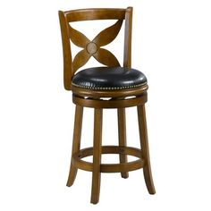 Mintra Dark Oak Finish Floral Back 24-Inch Swivel Counter Stool by MINTRA. $99.99. French legs with tapered bottoms: full ring footrest for strength and stability. Dimension: 38-inch high by 18-inch wide by 18-inch deep; seat height: 24-inch. Solid woods construction in dark oak finish. Upholstery materials: premium bi-cast leather covers; black leather upholstery. Assembly required, available also in cherry, cappuccino, and black finish. Perfect for refined entertaining,...