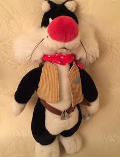 """Six Flags Looney Tunes Sylvester Cat Sheriff Cowboy 14"""" Plush Stuffed Animal Toy 