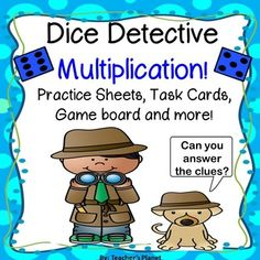 Can your students be Dice Detectives and solve the problems? Dice Detective Multiplication is a fun way to practice multiplication facts.  This set can be played with individual task cards, whole or half page task cards, using the Dice Detective game board or as a Scoot game.