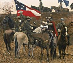 """Jeb Stuart and his boys that """"rode around McCellan! Military Art, Military History, American Civil War, American History, Confederate States Of America, Confederate Leaders, Southern Heritage, Southern Men, Civil War Art"""