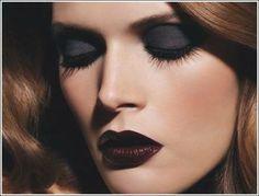 navy eyes & burgundy lips