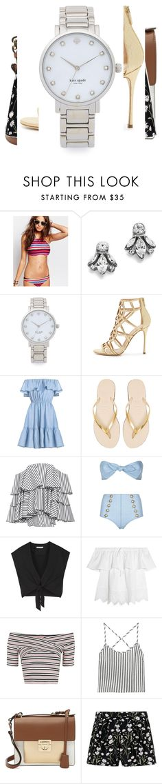"""""""Untitled #1429"""" by layniespeicher ❤ liked on Polyvore featuring Billabong, Ben-Amun, Kate Spade, Sergio Rossi, Havaianas, Caroline Constas, Lisa Marie Fernandez, Alice + Olivia, Madewell and Topshop"""