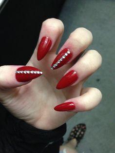 Stiletto Red Diamond Nails