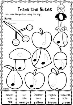 This set contains 20 Autumn themed trace and color music worksheets in two different formats (40 pages in total).