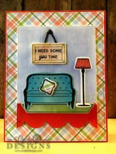 Scene card with My Favorite Things Make Yourself at Home stamp set. #cindybdesigns #mftstamps #makeyourselfathome #scenecard #stamping #cards #handmade #papercrafts #papercrafting #mftdienamics #livingroom #ineedsomeyoutime