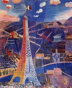 """La Tour - """"Panorama de París"""" by Raoul Dufy Georges Seurat, Georges Braque, Henri Rousseau, Henri Matisse, Raoul Dufy, Tour Eiffel, Renoir, Maurice Utrillo, Eiffel Tower Art"""